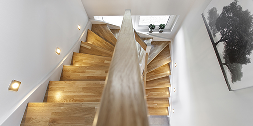 Luftaufnahme eines Treppenaufgangs